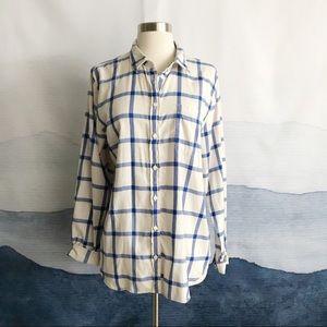 J. Crew White Blue Plaid Flannel Shirt in Boy Fit